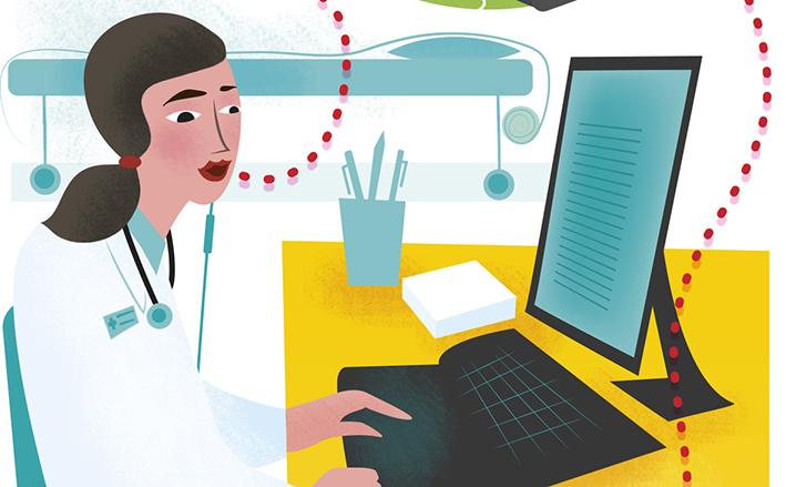 Illustration som visar skrivtolkning på distans av ett läkarbesök.