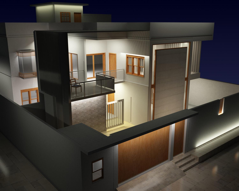 Bilden visar en modell av en bostad inifrån.